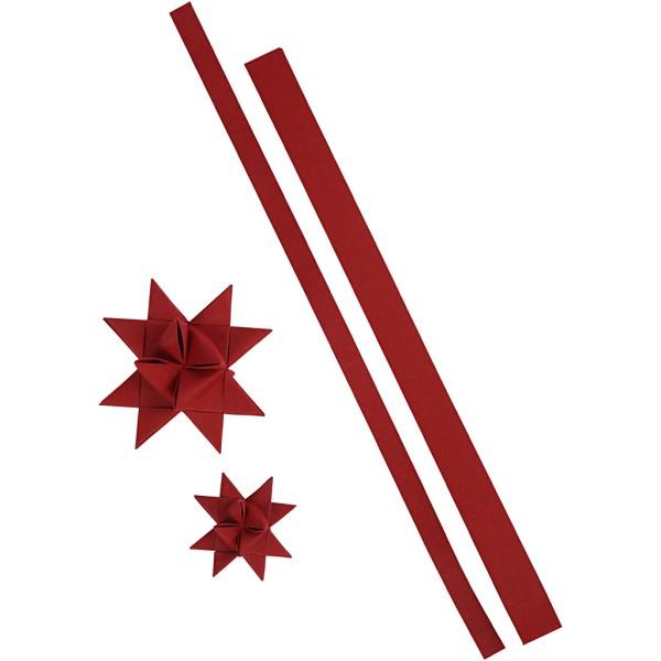Bandes de papier pour étoiles - imitation cuir rouge - Largeur 15 et 25 mm - 24 pcs - Photo n°1