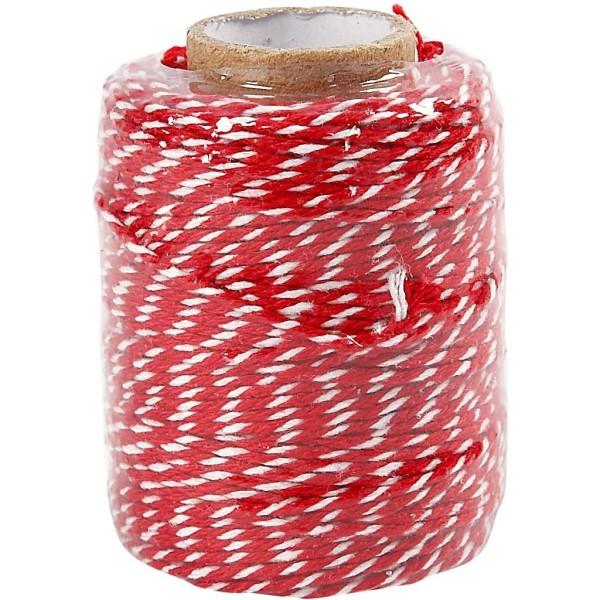 Ficelle en coton bicolore 1 mm - Rouge et blanc - 50 m - Photo n°2