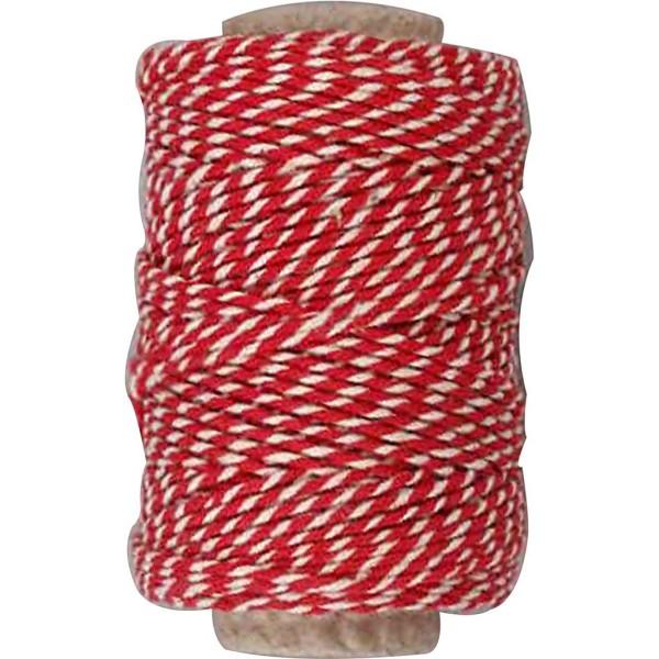 Ficelle en coton bicolore 1 mm - Rouge et blanc - 50 m - Photo n°1