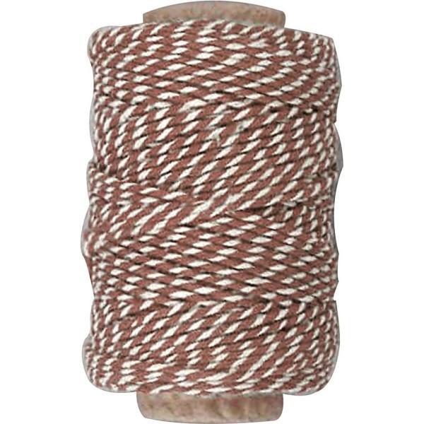 Ficelle en coton bicolore 1 mm - Brun et blanc - 50 m - Photo n°1