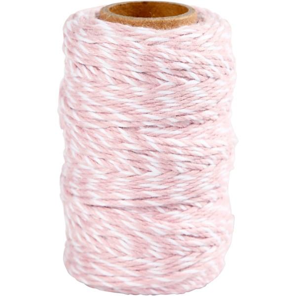 Ficelle Coton Blanc et Rose clair - 1,1 mm x 50 m - Photo n°1