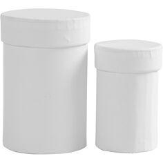 Lot de boîtes rondes à couvercle - Blanc - 7 et 9 cm - 2 pcs