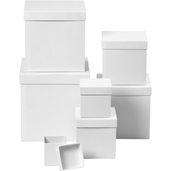 Set de boîtes carrés en carton blanc à décorer - 7,5 à 23 cm - 7 pcs - Photo n°1