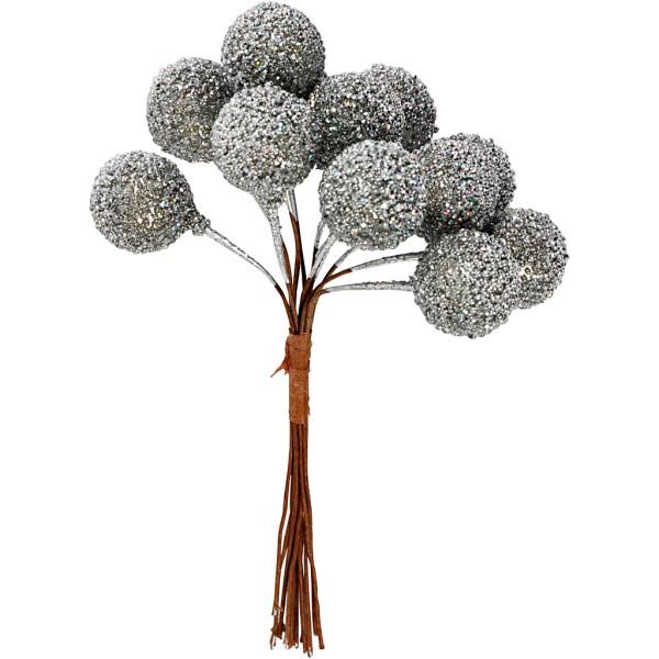 Bouquet de baies pailletées - Argent - 15 mm - 12 pcs - Photo n°1