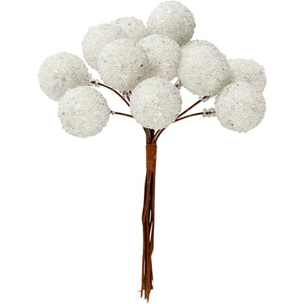 Bouquet de baies pailletées - Blanc - 15 mm - 12 pcs - Photo n°1
