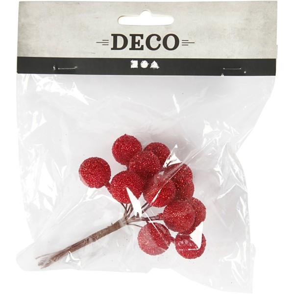 Bouquet de baies pailletées - Rouge - 15 mm - 12 pcs - Photo n°2