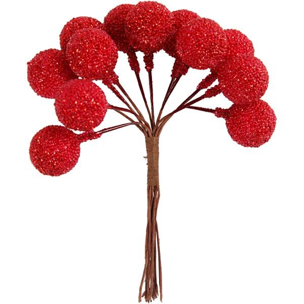 Bouquet de baies pailletées - Rouge - 15 mm - 12 pcs - Photo n°1