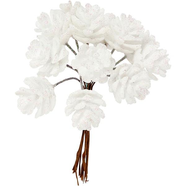 Bouquet de pommes de pin pailletées - Blanc - 12 cm - Photo n°1