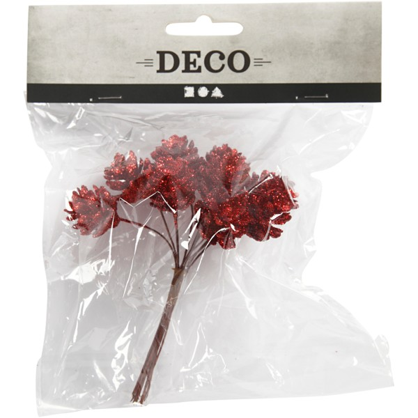 Bouquet de pommes de pin pailletées - Rouge - 12 cm - Photo n°2