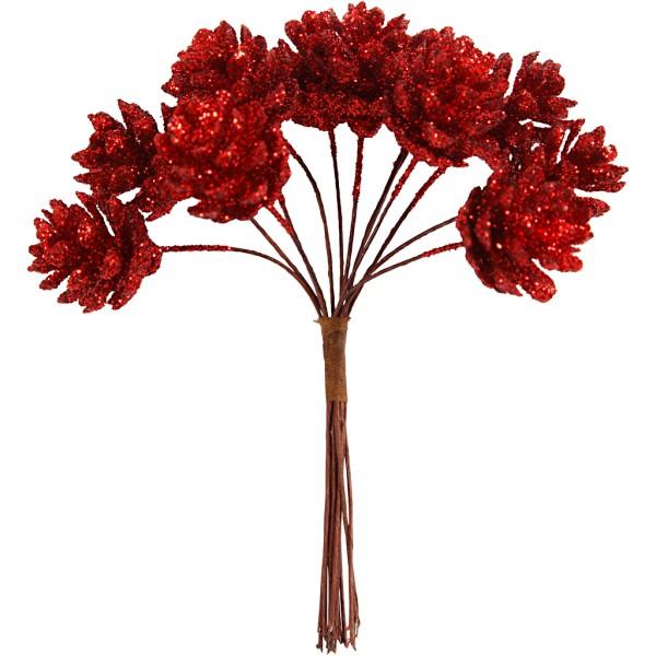 Bouquet de pommes de pin pailletées - Rouge - 12 cm - Photo n°1