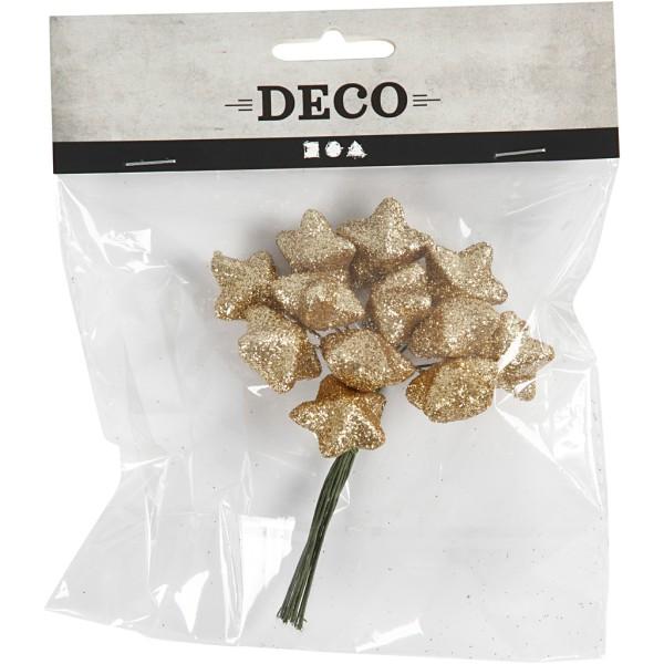 Bouquet d'étoiles pailletées - Doré - 12 cm - Photo n°2