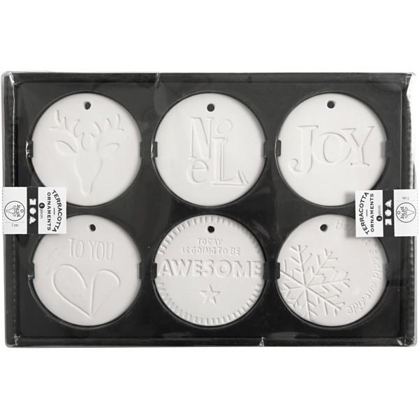 Set de décoration à suspendre en terre cuire blanche - 7 cm - 6 pcs - Photo n°2