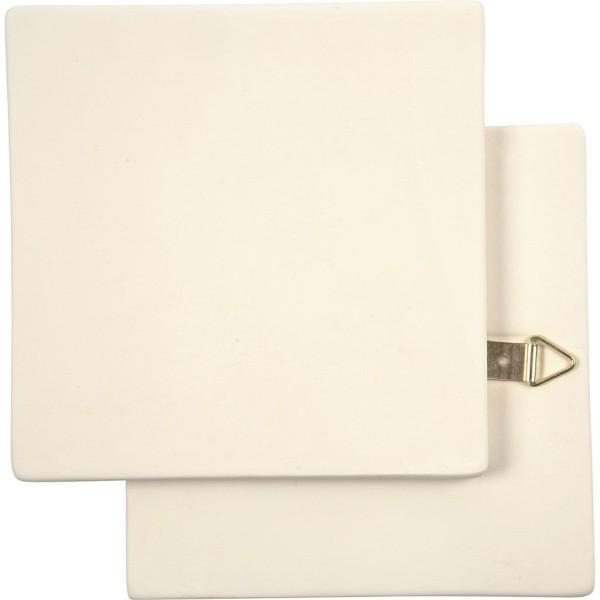 Carreau en terre cuite - Blanc - 13 x 13 cm - 1 pce - Photo n°1