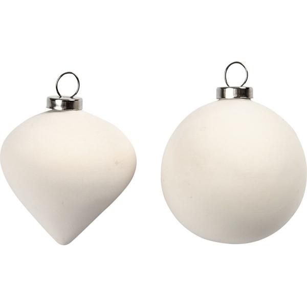 Set de boules à suspendre en terre cuite blanche - 6 cm - 12 pcs - Photo n°1