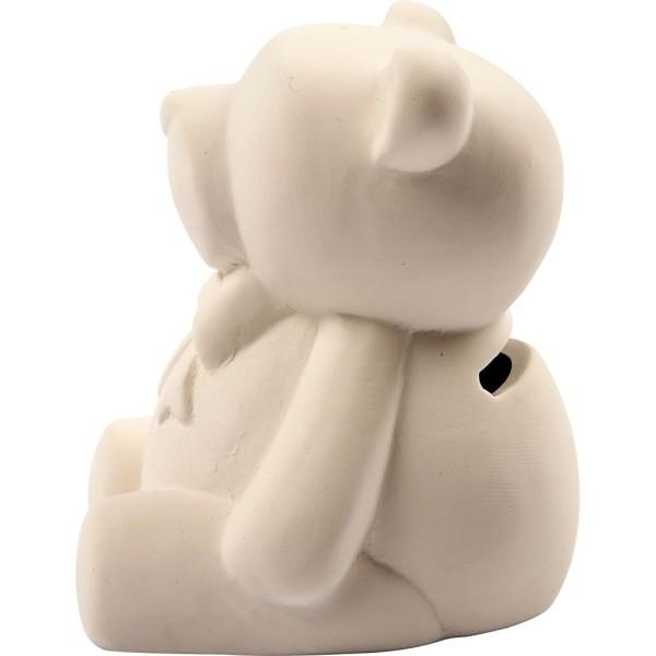 Tirelires Oursons en terre cuite - Blanc - 9 cm - 10 pcs - Photo n°3