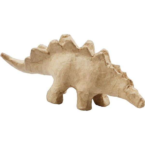 Dinosaure en papier mâché à décorer - Stégosaure - 9 x 21,9 cm - Photo n°1