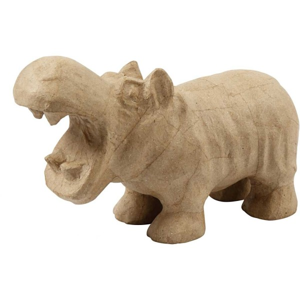 Hippopotame en papier mâché à décorer - 18 x 28 cm - Photo n°1