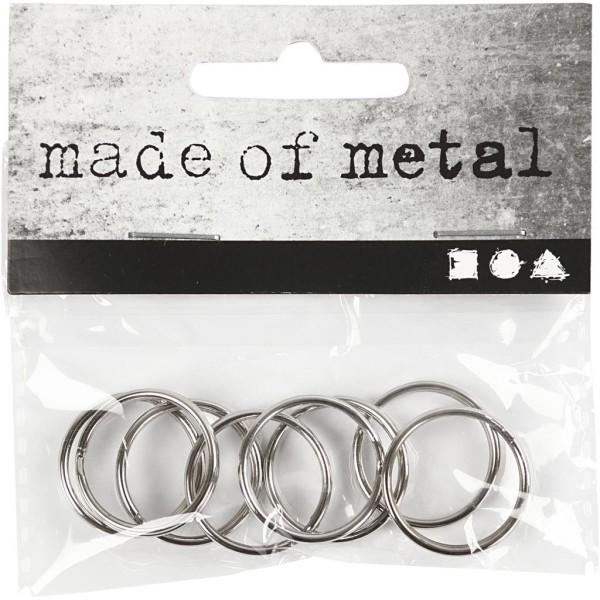 Anneaux porte-clés en métal argenté - 20 mm - 8 pcs - Photo n°2