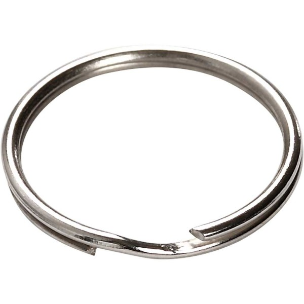Anneaux porte-clés en métal argenté - 20 mm - 8 pcs - Photo n°3