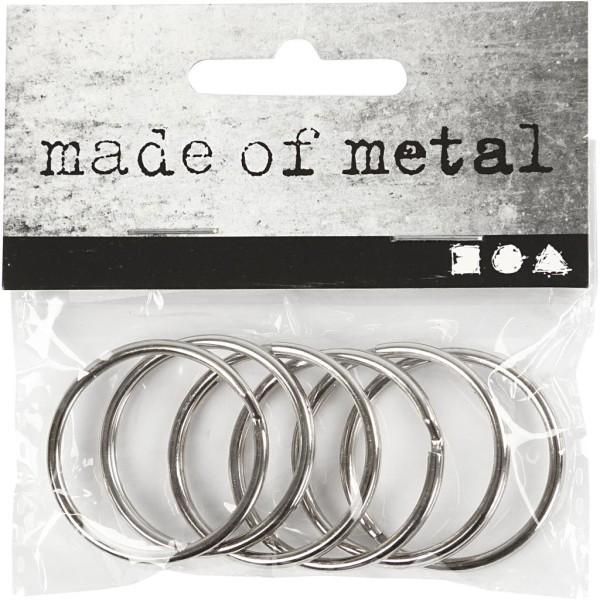 Anneaux porte-clés en métal argenté - 30 mm - 6 pcs - Photo n°2