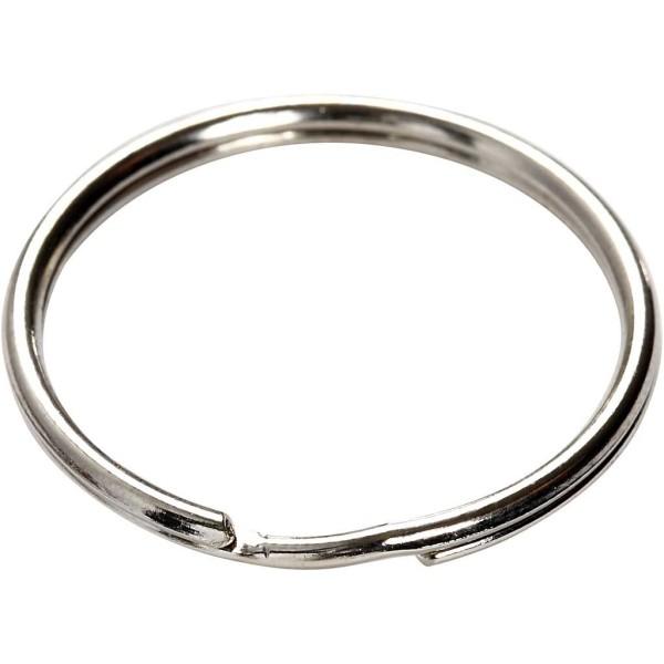 Anneaux porte-clés en métal argenté - 30 mm - 6 pcs - Photo n°3