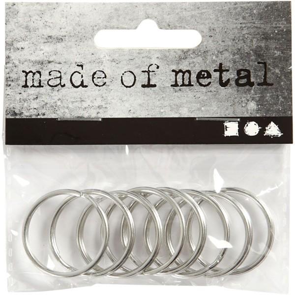 Anneaux porte-clés en métal argenté - 25 mm - 8 pcs - Photo n°2