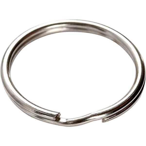 Anneaux porte-clés en métal argenté - 25 mm - 8 pcs - Photo n°3