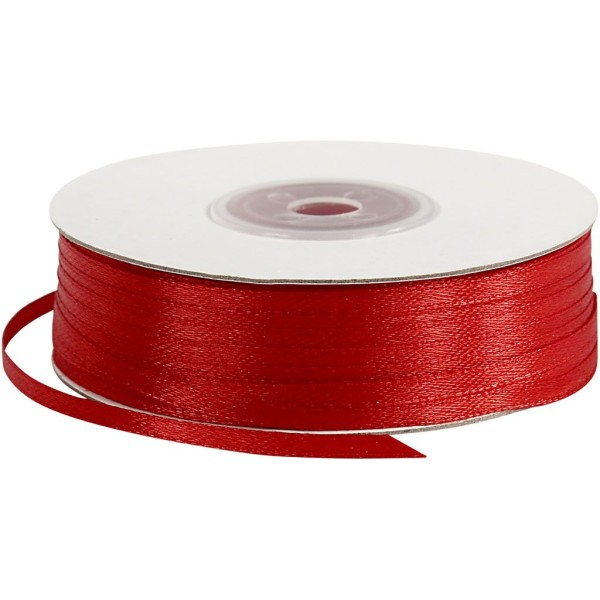 Ruban satin - 3 mm x 100 m - Rouge - Photo n°1