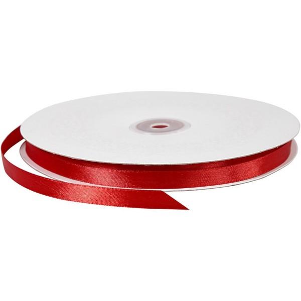 Ruban satin - 10 mm x 100 m - Rouge - Photo n°1
