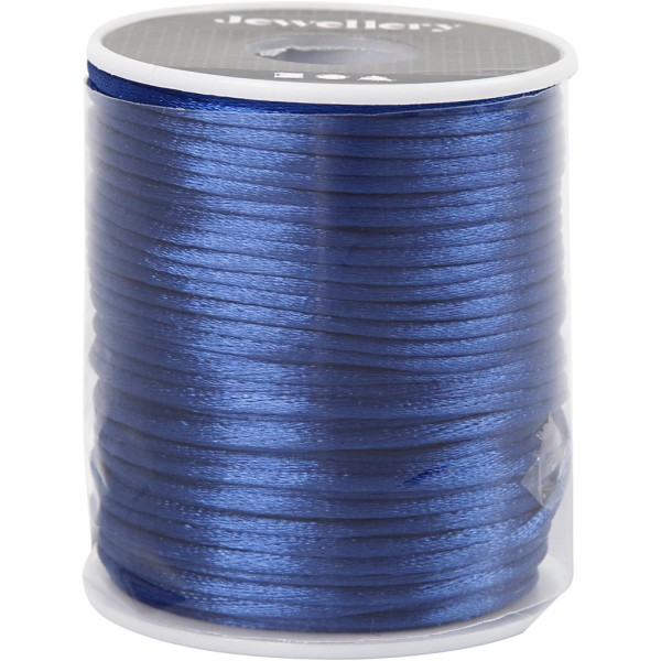 Cordon satin 2 mm - Bleu foncé - Rouleau de 50 m - Photo n°2