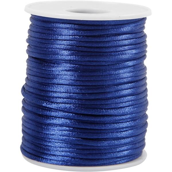 Cordon satin 2 mm - Bleu foncé - Rouleau de 50 m - Photo n°1
