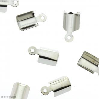 Embout Pince lacet 4 mm Gris argenté vieilli - 10 pcs