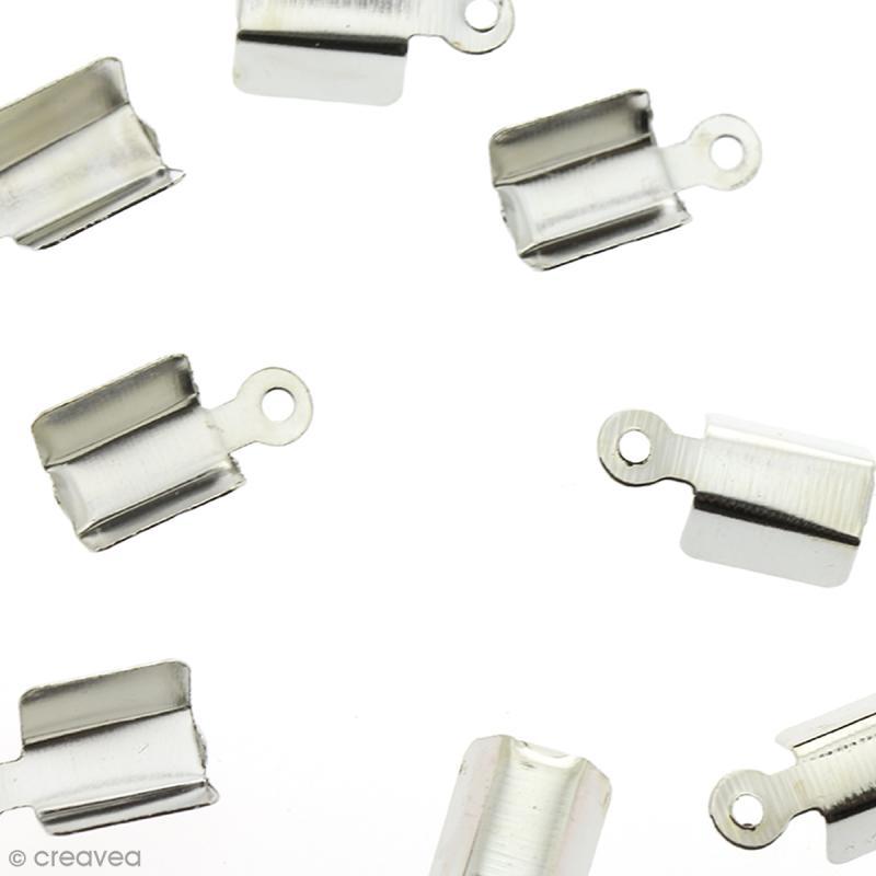 Embout Pince lacet 4 mm Gris argenté brillant - 10 pcs - Photo n°1