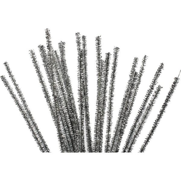 Fil chenille - Argent - 6 mm x 30 cm -  pcs - Photo n°1