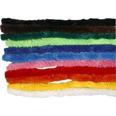 Fil chenille couleurs assorties - 15 mm x 30 cm - 200 pcs