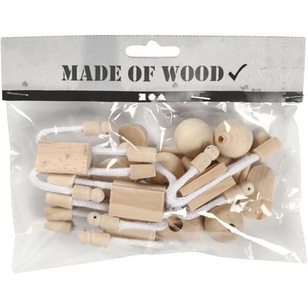 Lot de figurine en bois et corde flexible - 12 cm - 4 pcs - Photo n°2