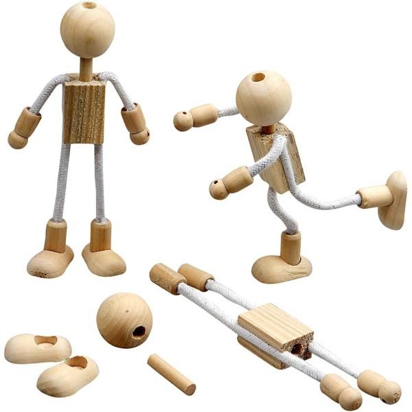 Lot de figurine en bois et corde flexible - 12 cm - 4 pcs - Photo n°1