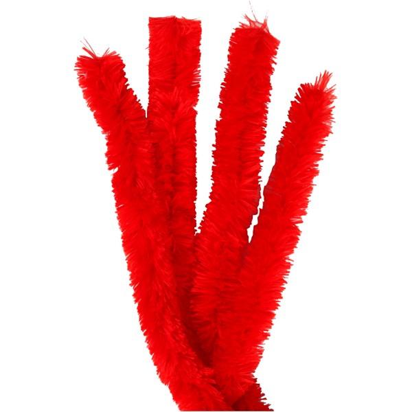 Fil chenille 40 cm - Rouge - 4 pcs - Photo n°1