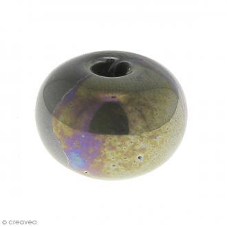 Perle aplatie en céramique Taupe irisé 16 mm - 1 pce