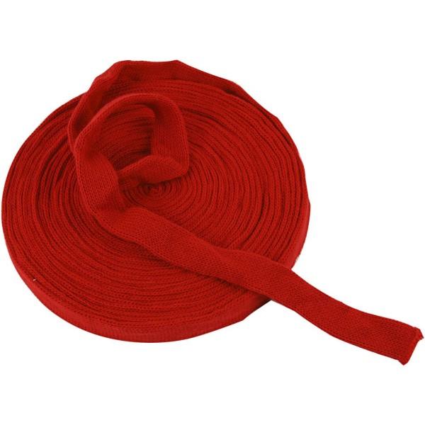 Tricot tubulaire acrylique - Rouge cerise - 22 mm x 10 m - Photo n°1