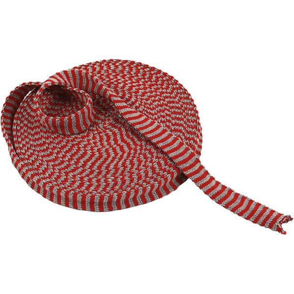 Tricot tubulaire acrylique - Cerise et Gris - 22 mm x 10 m - Photo n°1