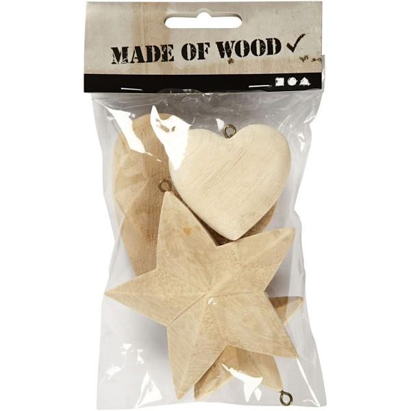 Suspension en bois à décorer - Coeurs et étoiles - 5,5 à 8,5 cm - 4 pcs - Photo n°2