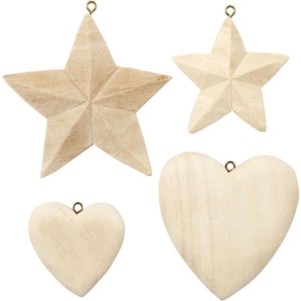 Suspension en bois à décorer - Coeurs et étoiles - 5,5 à 8,5 cm - 4 pcs - Photo n°1