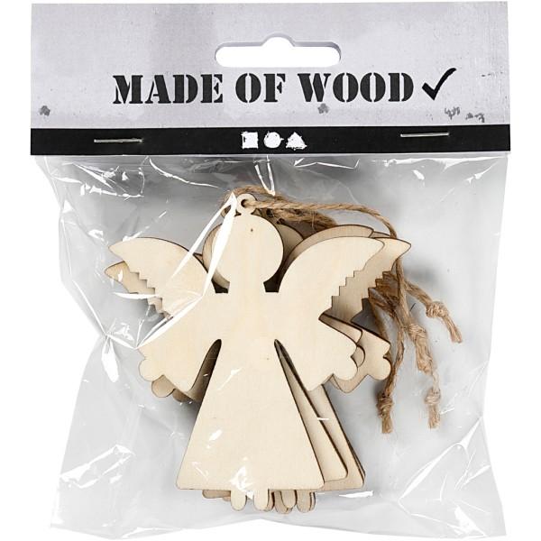 Forme en bois à suspendre - Ange - 8 cm - 4 pcs - Photo n°2