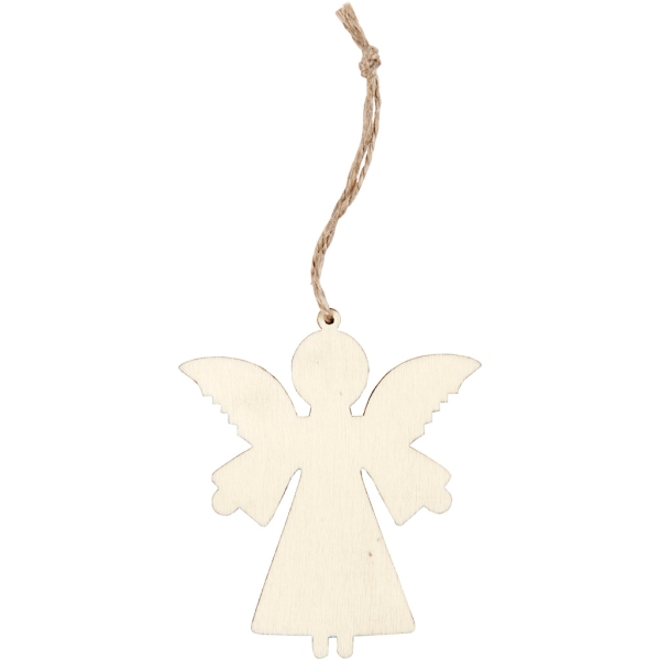 Forme en bois à suspendre - Ange - 8 cm - 4 pcs - Photo n°1