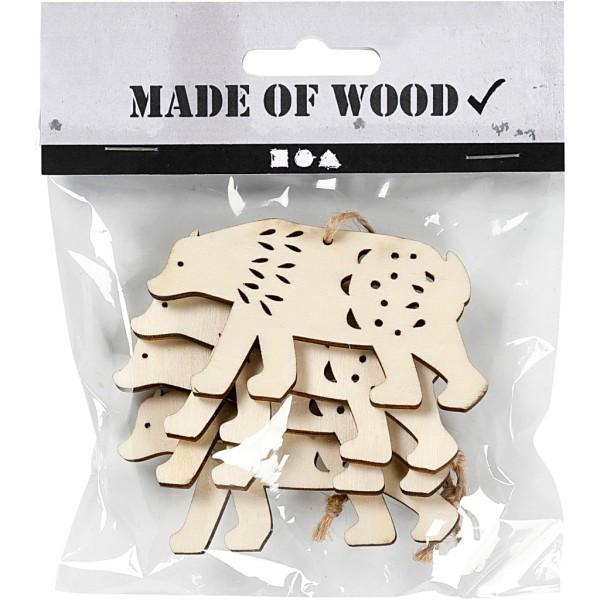 Forme en bois à suspendre - Ours polaire - 7,5 cm - 4 pcs - Photo n°2