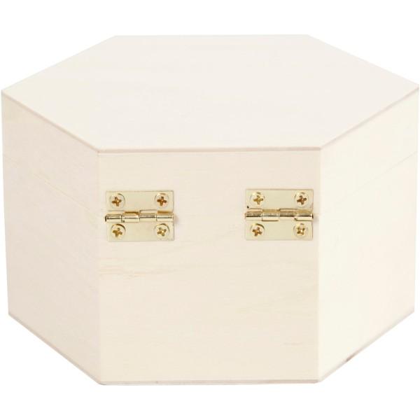 Boîte hexagonale en bois à décorer - 12 x 7 cm - Photo n°2