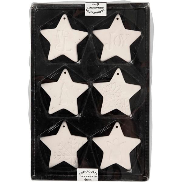 Set d'étoile à suspendre en terre cuite blanche - 7 cm - 6 pcs - Photo n°2