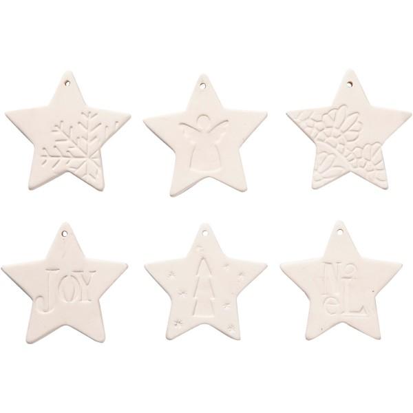 Set d'étoile à suspendre en terre cuite blanche - 7 cm - 6 pcs - Photo n°1