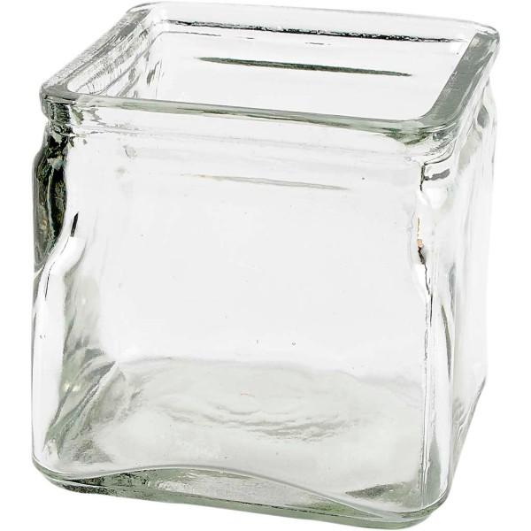 Bougeoir en verre carré - 10 x 10 x 10 cm - 12 pcs - Photo n°1